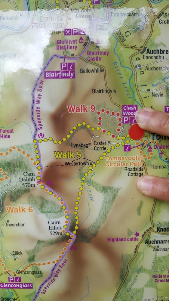 Plan des marches pour atteindre le Carn Daimh