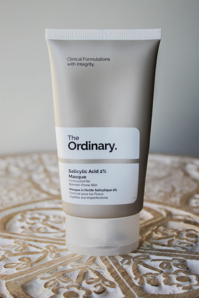 Le packaging du masque à l'acide salicylique de The ordinary